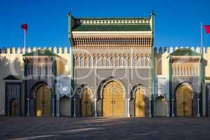 Royal Palace from Place des Alaouites with brass doors in Fes, Morocco