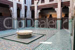 Mausoleum of Moulay Ismail interior in Meknes in Morocco.