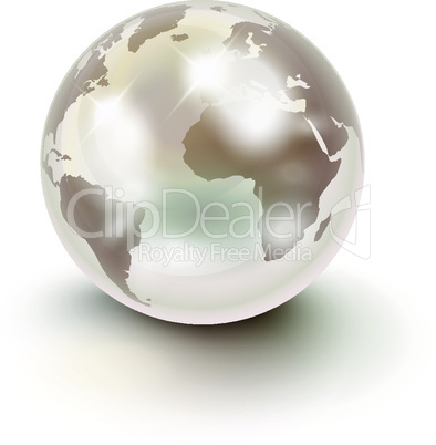 Precious Earth like a white pearl over white