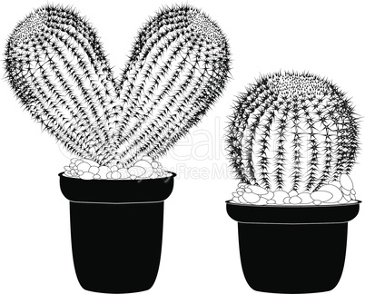 Kaktus heart shaped pot cactus tattoo sign for t-shirt, card valentine day, banner isolated cacti front view in ceramic pot on white background vector