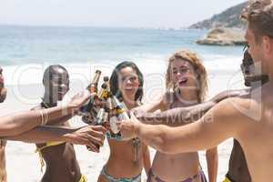 Multi-ethnic group of friends toasting with beer bottle at beach
