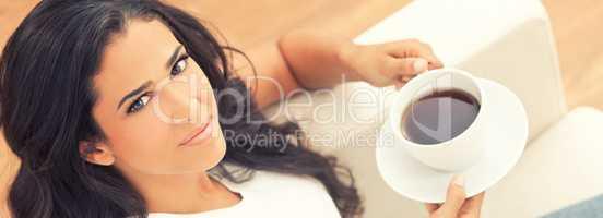 Panorama Hispanic Latina Woman Drinking Tea or Coffee