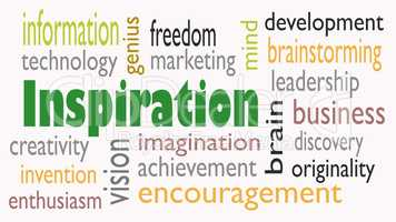 Inspiration word cloud concept on white background - Illustratio