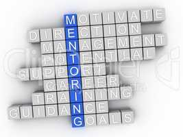 3d Mentoring word cloud concept - Illustration