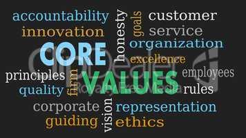 Core values word cloud, business concept - Illustration