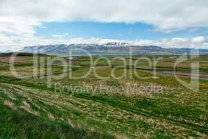 Meadows and mountains in Laufas near Akureyri, Iceland