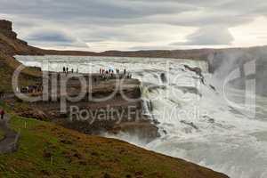 Gullfoss waterfall in a cloudy day