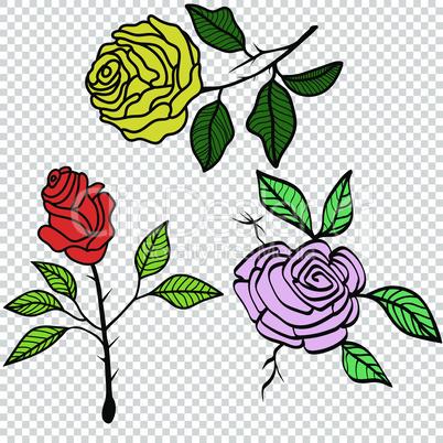 Vintage Roses Set tattoo vector illustration