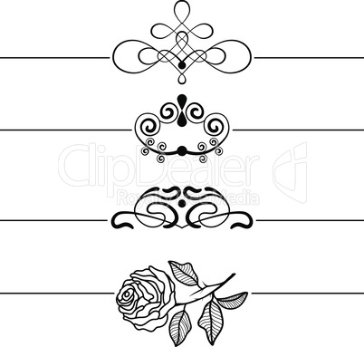Calligraphic Design Elements . Decorative Swirls, Scrolls and Dividers. Vintage Vector Illustration