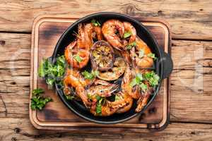 Grilled large prawns