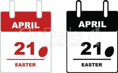 Easter calendar isolated