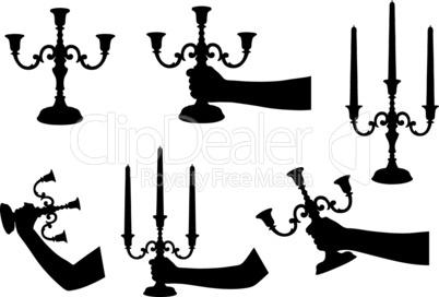 Set of different candlesticks
