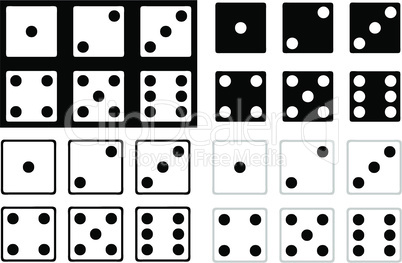 Set of black and white dice