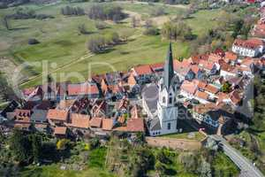 aerial shot of the village Jockgrim
