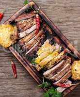Steak on a wooden board