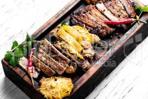 Steak on a wooden board