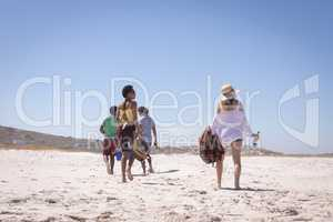Group of friends carrying ice box and beer bottles on beach in the sunshine