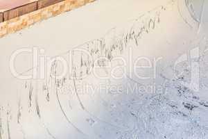 Freshly Applied Wet Pool Plaster During Build