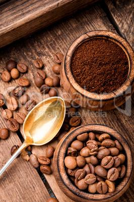 Ground coffee and beans