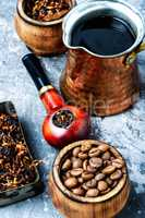 Smoking pipe and coffee
