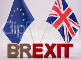 BREXIT letters with European an English flags in the backround