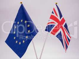 Flagge Europäische Union und Flagge Großbritannien