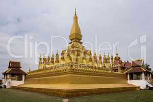 The golden Pagoda at Wat Pha That Luang Temple in Vientiane, Laos