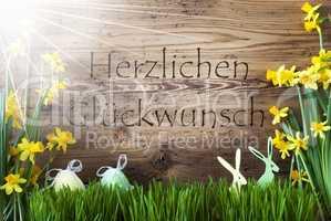 Sunny Easter Decoration, Gras, Herzlichen Glueckwunsch Means Congratulations