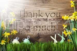 Sunny Easter Decoration, Gras, Text Thank You So Much
