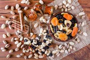 Mix of dried fruits and nuts seen from above