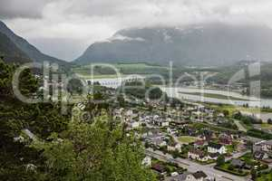 View of Andalsnes city in Norway