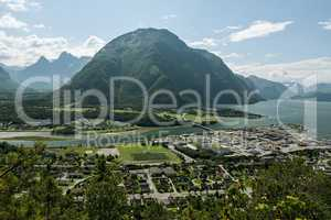 Panoramic view of Andalsnes Leirplass mountain in Norway