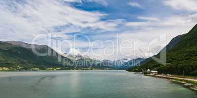 Panoramic view of Romsdalsfjorden and mountains in Norway