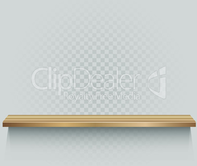 wooden shelf on transparent background