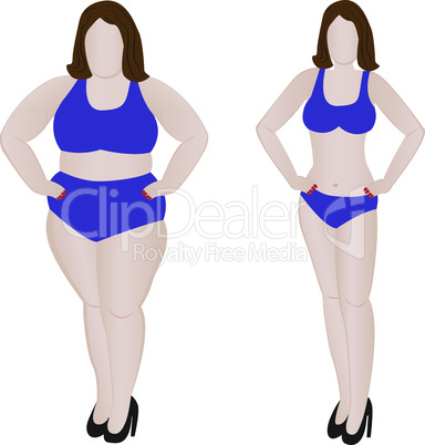 Fat and slim girl. Weight loss  before and after fitness.
