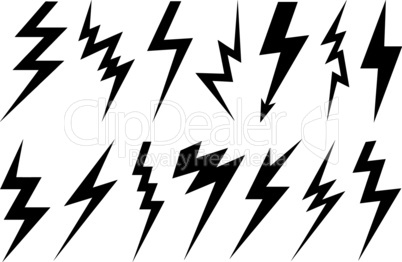 Set of different lightning bolts