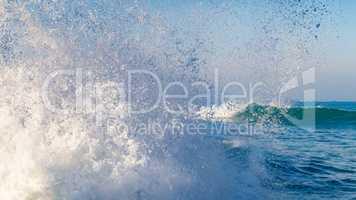 splashing wave near the coast