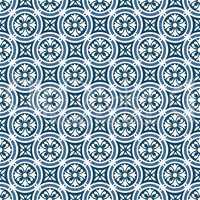 Circular floral portuguese tiles pattern