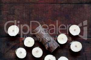 Sawn Wood On Dark Board