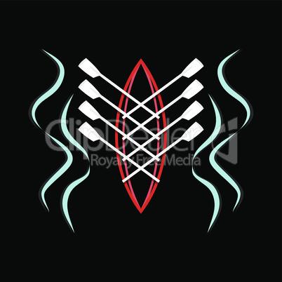 Image vector rowing sport emblem
