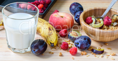 Children's breakfast bowl with muesli, berries, fruits and milk