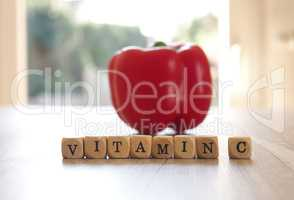 Vitamin C with fresh organic bell pepper