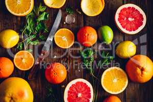 Citrus Fruits Background.