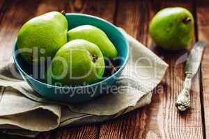 Green Pears in Bowl.