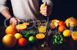 Guy Prepare the Citrus Cocktail.