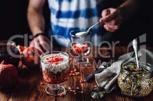 Pomegranate Dessert and Preparing New Portion.