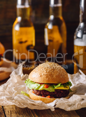 Homemade Cheeseburger on Kraft Paper