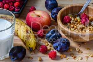 Superbreakfast bowl with muesli, berries, fruits and milk