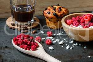 Cottage cheese with raspberries, coffee and muffin for breakfast