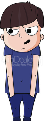 Cute cartoon boy with paranoid emotions. Vector illustration
